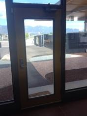 View through the yellow door.
